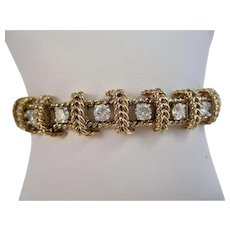 Massive Estate 1950's Wedding/Anniversary Birthstone Diamond Bracelet 14K
