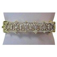 Estate Vintage Judith Ripka Wedding Day Birthstone Diamond Bangle Bracelet 18K