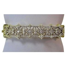 Estate Vintage Judith Ripka Wedding Day Birthstone Diamond Bangle Bracelet 18K