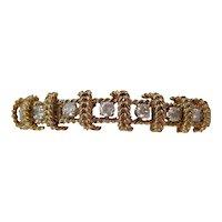 Massive Vintage Estate 1950's Wedding Day Diamond 14K Yellow Gold Bracelet