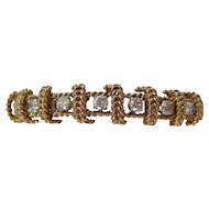 Massive Vintage Estate 1950's Wedding Day Birthstone Anniversary Diamond 14K Yellow Gold Bracelet