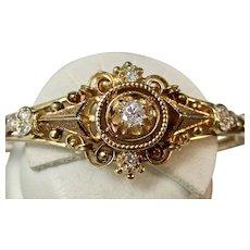 Estate 1950's Victorian Style Diamond Bangle Bracelet 14K