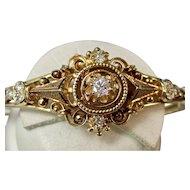 Vintage Estate Wedding Day Anniversary Diamond Bangle Bracelet 14K