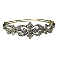 Antique Edwardian Diamond Wedding Day Bangle Bracelet Platinum 18K