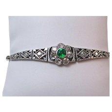 Art Deco Emerald & Diamond Wedding Birthstone Bracelet