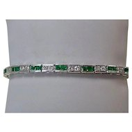 Estate Natural Emerald & Diamond Wedding Day Anniversary Birthstone Bracelet 18K