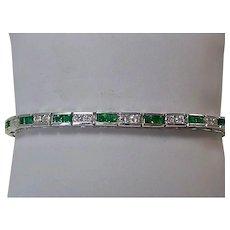 Estate Natural Emerald & Diamond Wedding Day Anniversary Birthstone Bracelet 18K