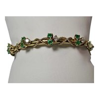 Vintage Estate Tiffany Emerald & Diamond Bangle Bracelet 14K