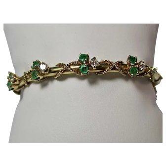 Vintage Estate Tiffany Emerald & Diamond Birthstone Wedding Day Anniversary Bangle Bracelet 14K