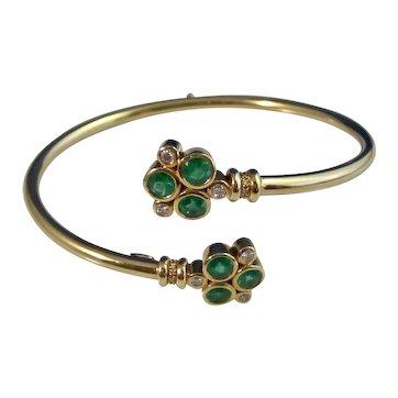 Estate Natural Emerald & Diamond Temple St. Clair Bellina Open Bangle Bracelet 18K
