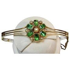 Antique Edwardian Emerald Seed Pearl Bangle Bracelet