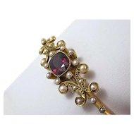 Antique Edwardian 1905 English Rhodolite Garnet Wedding Day Birthstone Bangle Bracelet 15K