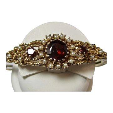 Vintage Estate 1950's Natural Garnet Seed Pearl Bracelet 14K