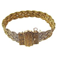 Victorian Antique Foxtail Chain Wedding Bracelet 14K