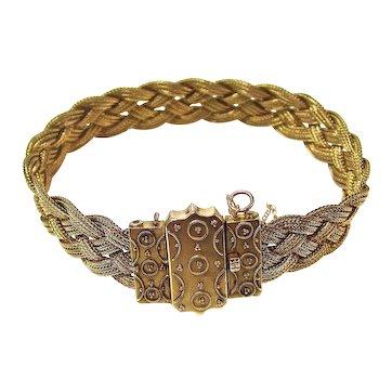 Victorian Antique Foxtail Chain Bracelet 14K