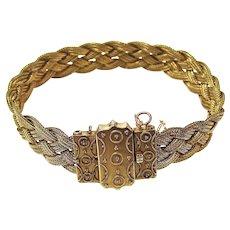 Victorian Antique Foxtail Chain Wedding Bracelet 14K