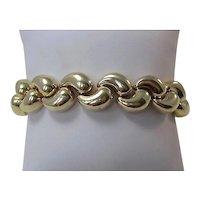 Vintage 1960's Heavy Gold Link Bracelet 14K