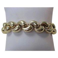 Vintage 1960's Wedding Day Anniversary Heavy Gold Link Bracelet 14K