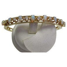 Vintage Estate Wedding Day Birthstone Opal & Diamond Bangle Bracelet 14K