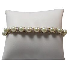 Vintage Estate Wedding Day Cultured Pearl Diamond Bracelet 14K