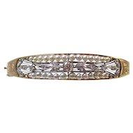 Diamond & Cultured Pearl Estate Wedding Birthstone Bangle Bracelet 14K Platinum