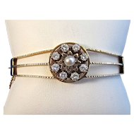 Diamond & Natural Cultured Pearl 1950's Estate Bangle Wedding Birthstone Anniversary Bracelet 14K