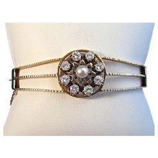 Diamond & Natural Cultured Pearl 1950's Estate Bangle Wedding Birthstone Anniversary Bracelet 14K
