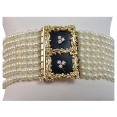 Diamond Cultured Pearl Black Onyx Estate 1950's Wedding Day Birthstone Anniversary Bracelet 18K