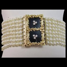Diamond Cultured Pearl Black Onyx 1950's Wedding Day Birthstone Anniversary Bracelet 18K