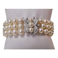 Estate 1950's Wedding Day Diamond & Cultured Pearl Bracelet 14K