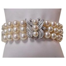 Estate 1950's Wedding Day Diamond & Cultured Pearl Bracelet 14K