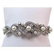 Cultured Pearl & Diamond Estate Bangle Wedding Birthstone Anniversary Bracelet 14K