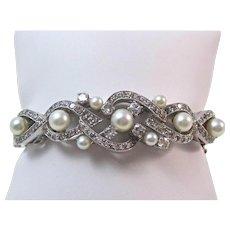 Cultured Pearl & Diamond Estate Bangle Wedding Birthstone Anniversary Bracelet 14K
