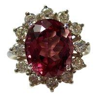 Vintage Estate Natural Pink Tourmaline & Diamond Ring 14K