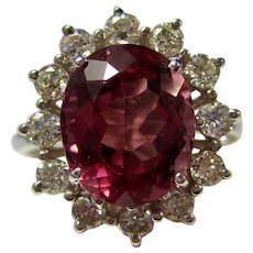 Vintage Estate Natural Pink Tourmaline & Diamond Ring 14K