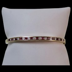 Natural Ruby & Diamond Bangle Estate Bracelet 14K