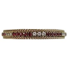 Vintage Estate Wedding Day Birthstone Anniversary Natural Ruby & Diamond Bracelet 14K