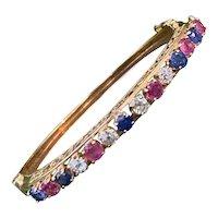 Vintage Estate 1950's Blue Sapphire & Pink Sapphire Bangle Bracelet 14K