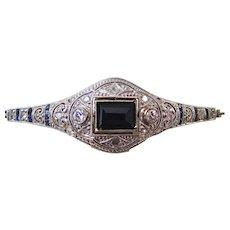 Art Deco Diamond & Sapphire Wedding Day Birthstone Bracelet 18K