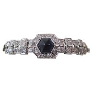 Natural Sapphire & Diamond Wedding, Anniversary,  Birthstone Estate Bracelet 14K
