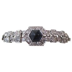 Natural Sapphire & Diamond Wedding, Anniversary,  Birthstone Estate Bracelet 14K