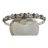 Estate Art Deco 1920's Sapphire & Diamond Floral Bangle Bracelet 18K