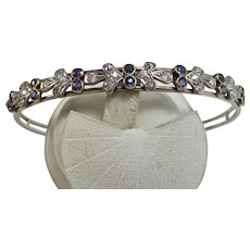 Vintage Estate Art Deco Wedding Day Birthstone Anniversary Sapphire & Diamond Bangle Bracelet