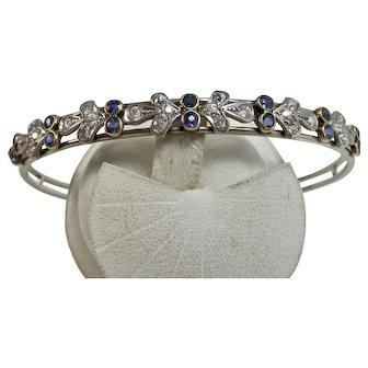 Vintage Estate Art Deco Wedding Day Birthstone Anniversary Sapphire & Diamond Bangle Bracelet