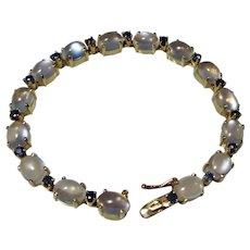 Vintage Estate Tiffany Moonstone Sapphire Bracelet 14K