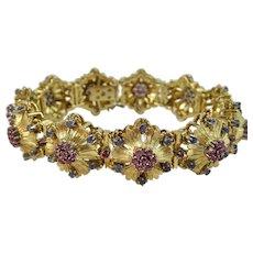 Vintage Estate Mid Century Pink & Blue Ceylon Sapphire Wedding Day Birthstone Floral Bracelet 18K