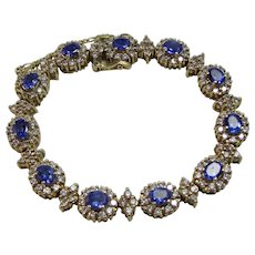 Vintage Estate Wedding Day Birthstone Tanzanite & Diamond Bracelet 14K