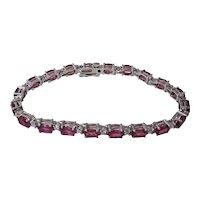 Vintage Estate Natural Pink Tourmaline & Diamond Bracelet 18K