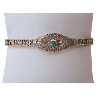 Natural Zircon Estate Filigree Wedding Birthstone Anniversary Bracelet 10K