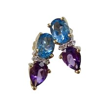 Vintage Estate Blue Topaz, Amethyst, Diamond Birthstone Anniversary Earrings